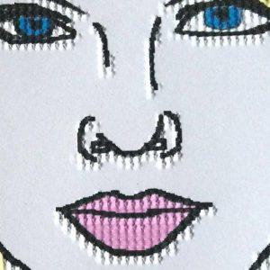 Visage de femme embossé et en couleur