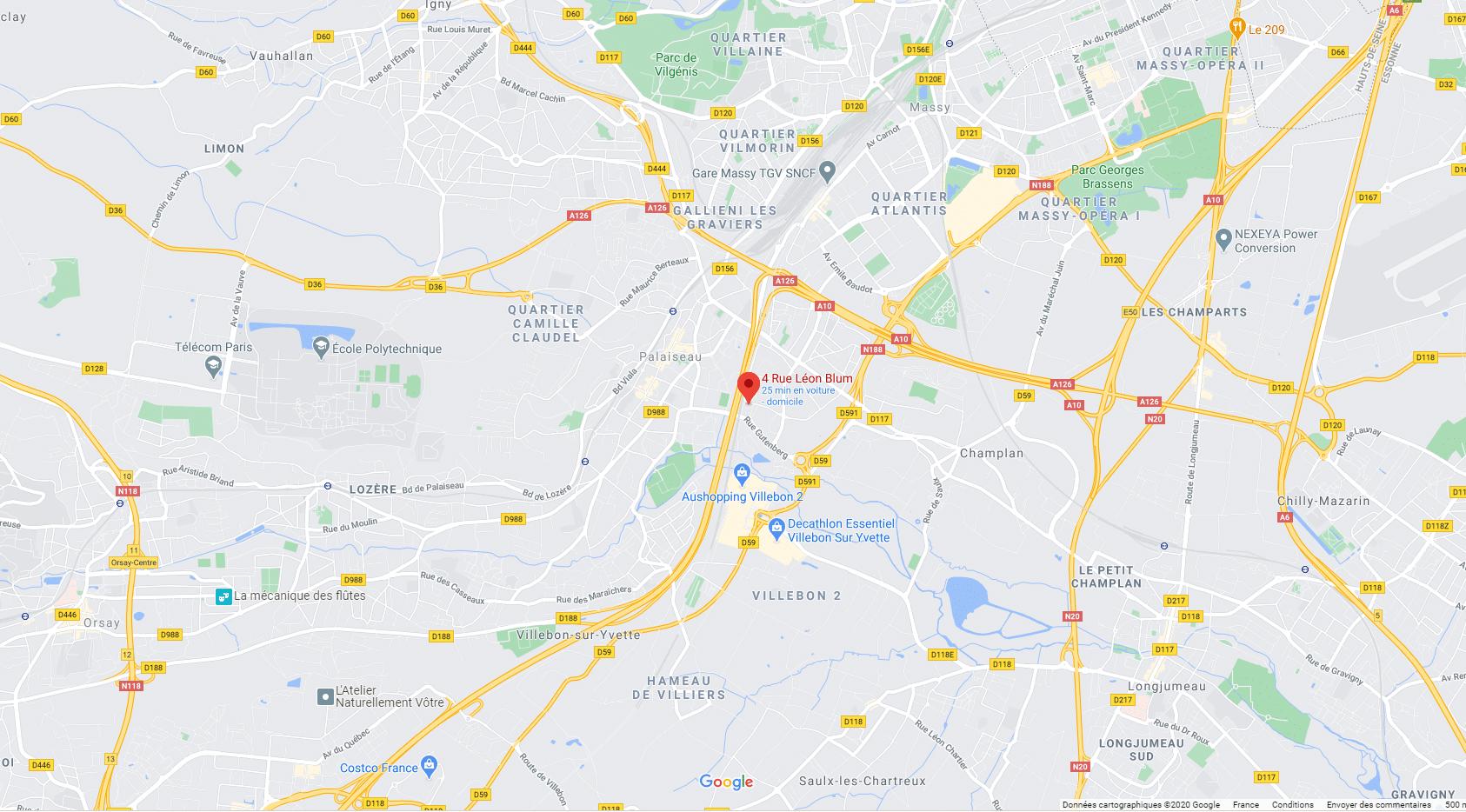 carte de localisation VISIOLE pour contact