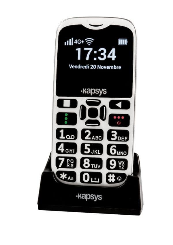 MiniVision2 téléphone avec gros caractères avec socle charge